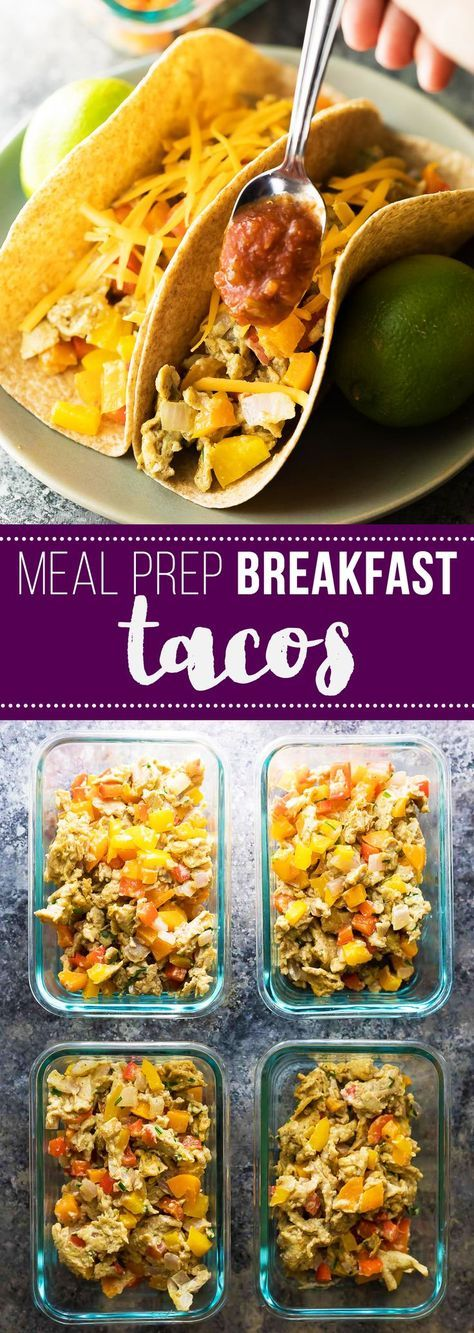 Meal prep veggie & egg breakfast tacos are a healthy breakfast recipe that will energize you and start your day off right! Make the filling ahead on the weekend for four days of breakfasts waiting for you in the fridge.
