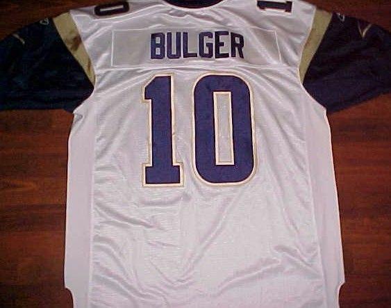 Marc Bulger 10 St. Louis Rams NFL NFC West White Blue Gold Stitched Jersey 52 #Reebok #StLouisRams