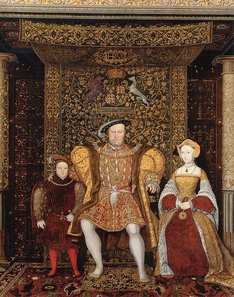 Il principe Edoardo VI, Enrico VIII e Lady Seymour, 1545 ca., particolare