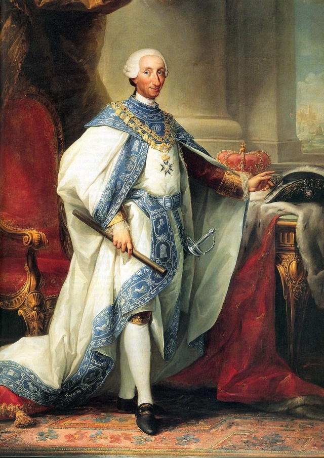Palacio Real de Madrid. Carlos III fue el primer monarca que habitó de forma continua el palacio. Pintura de Carlos III de  Anton Rafael Mengs c. 1760.