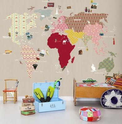 World Map Vintage Wallpaper for Travel-Theme Nursery
