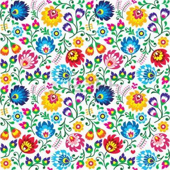 Seamless arte popular polaca padr�o floral - lowickie wzory, wycinanki photo