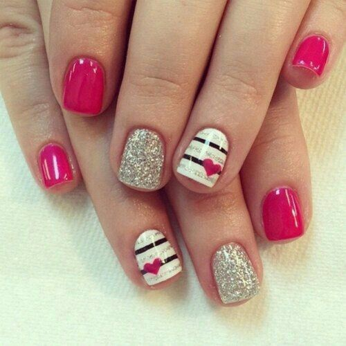 pink, glittery, white with black lines and heart nail design