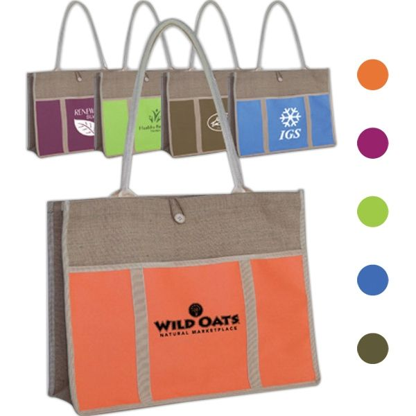 """This jute panel tote bag is not only fashionable but useful! Measuring 17.5"""" x 13.75"""" with a 4.75"""" gusset, this bag features 28.5"""" x .625"""" reinforced tube straps, a large capacity compartment, button and loop fastener, and a front 17"""" x 9"""" Velcro pocket. This eco-friendly product is both reusable and recyclable. Offered in multiple color options, customize this bag with a silkscreen imprint for some added exposure. This tote makes..."""
