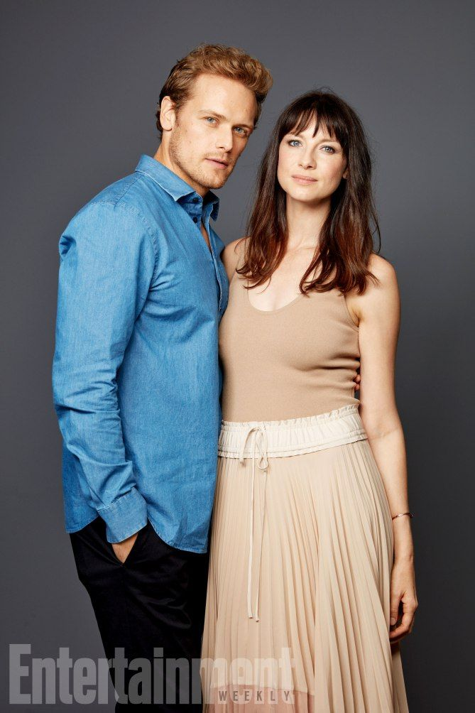 "Comic-Con 2017: Exclusive Portraits From EW's Studio | Sam Heughan, Caitriona Balfe at SDCC 2017 promoting Outlander Season Three ""Voyager"" on Starz"