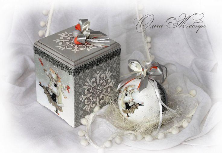 Фото к МК Ольги Жебчук Новогодний короб с шариком.