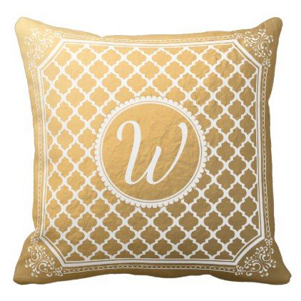 Fancy Gold Monogram Quatrefoil Personalized Throw Pillow - monogram gifts unique design style monogrammed diy cyo customize