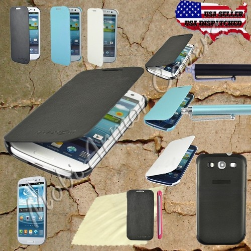PU Leather Flip Case Cover for Samsung Galaxy S 3 III S3 i9300 W/Stylus + Film  all Colors available, free shipping, free stylus, free Screen protector, free microfiber, hurry sales ending this weekend.