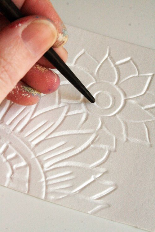 Styrofoam plates- carves a design and then use paint or ink to transfer... Great way to make personal stationary.