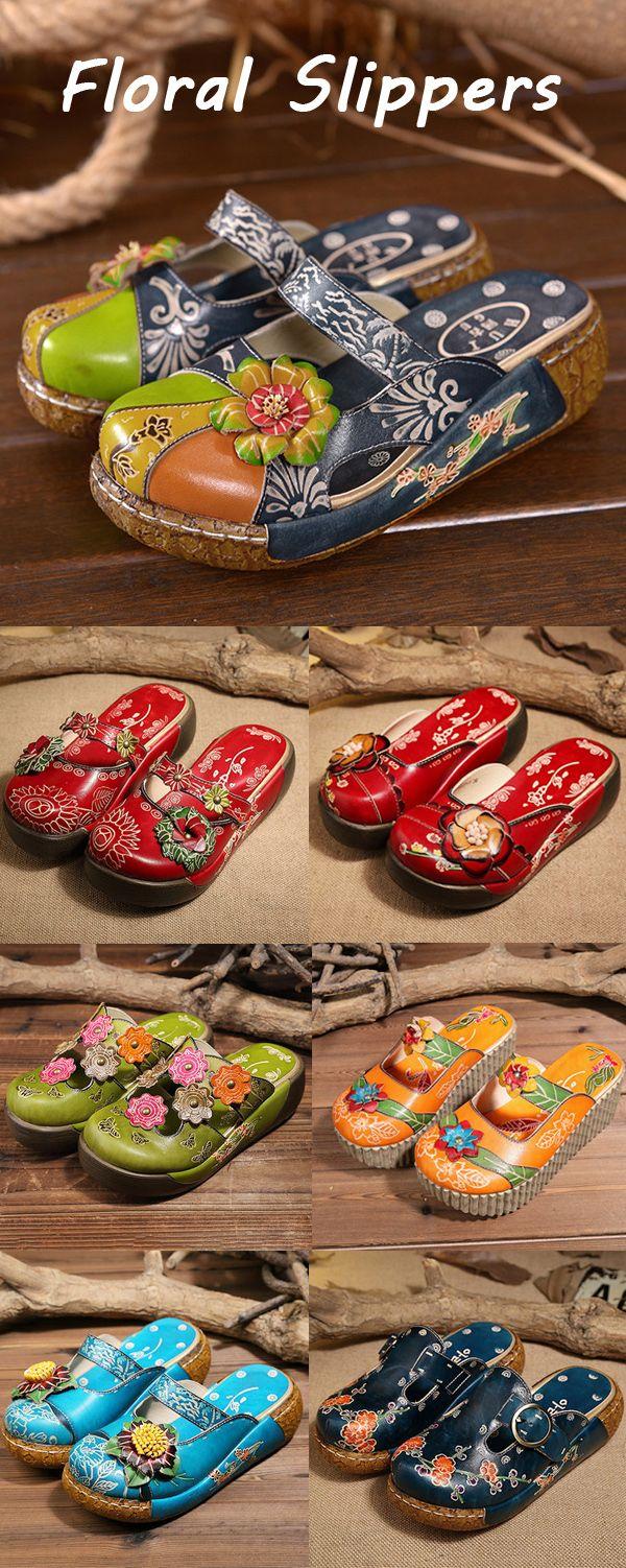 【UP TO 50% OFF】Vintage Women Summer Floral Backless Slip On Slippers Sandals