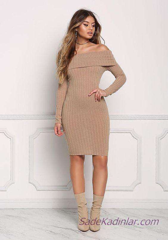 f81e53a8de594 2020 Bayan Kış Modası Triko Elbise Vizon Kısa Omzu Açık Katlamalı ...