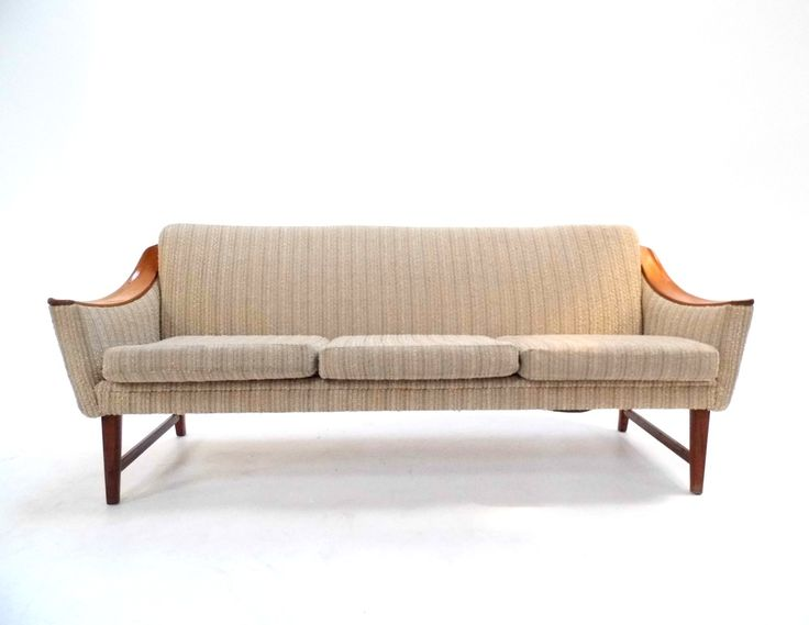 Midcentury Scandinavian Cream Light Grey Wool & Teak 3 Seater Sofa Midcentury 1970s - £895.00  Width: 184cm | Depth: 68cm | Height: 72cm | Seat Pad Height: 42cm