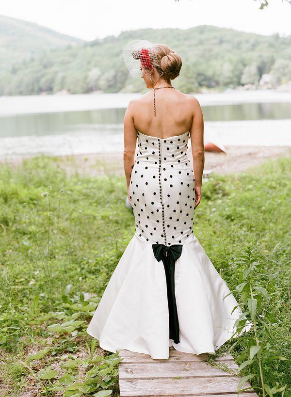 Dress designer: Ann Phaneuf - Lisa & Benjamin | Backyard Rockabilly Wedding in Maine captured by Jillian Mitchell - via Snippet & Ink