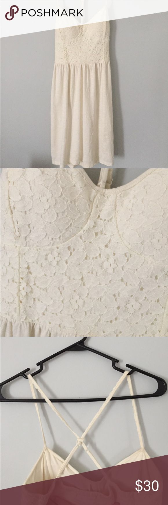 American Eagle Dress 🦅 White/cream Dress, lacy at top. Cupped bra area. Size small. American Eagle Outfitters. American Eagle Outfitters Dresses Mini #americaneagleoutfitters