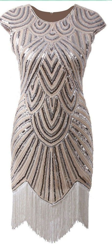 1920's Beaded Flapper Dress (Silver/Nude) for Hire from The Littlest Costume Shop in Melbourne