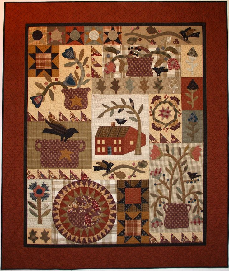 Primitive quilt with applique and patchwork...♔...                                                                                                                                                      More