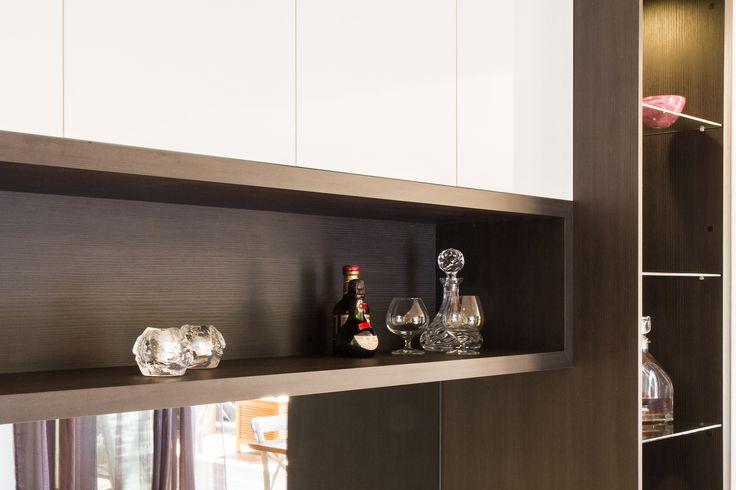 Modern bar. Display shelf. www.thekitchendesigncentre.com.au