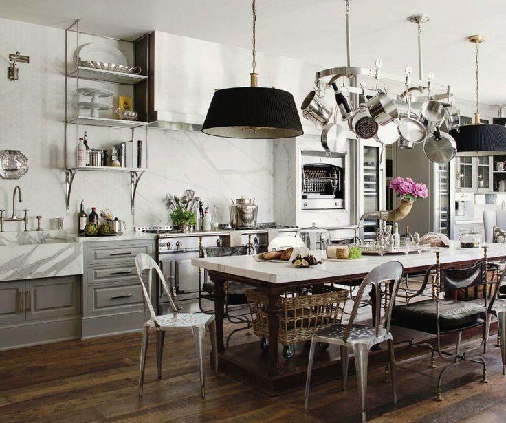 Kitchen, Wonderful Kitchen Design With Astonishing Pendant Lamp Warmth  Parquet Floor Intriguing White Wooden Cabinet