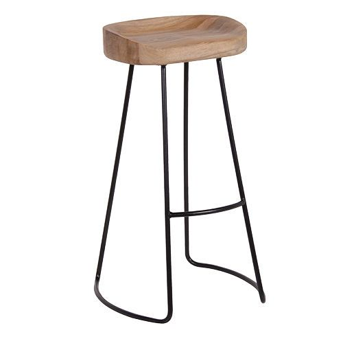 Industrial Bar Stool Re Engineered Metal with Weathered Oak Seat