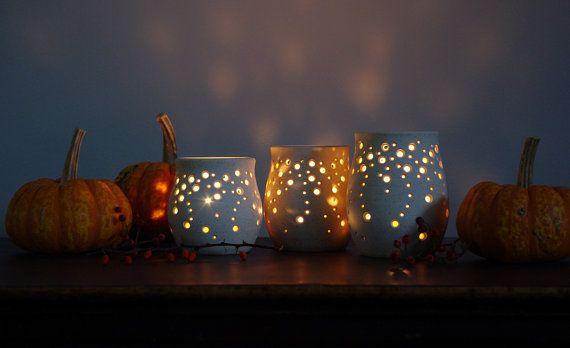 PreOrder Set of Three Handmade Ceramic Luminaries by NaomiAnita