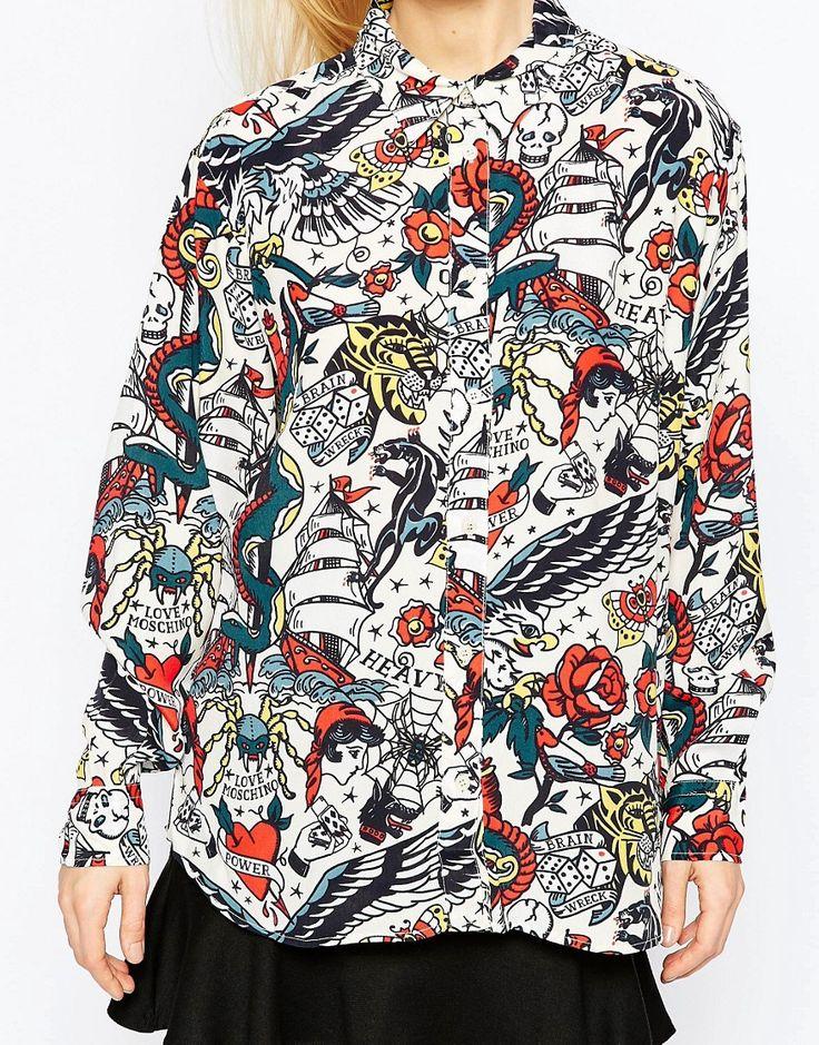 Изображение 3 из Рубашка с принтом татуировки Love Moschino