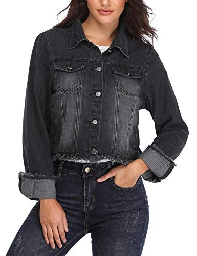 659cfb9404a9 MISS MOLY Jean Jackets for Women Button up Turn Down Collar Frayed Denim  Washed Crop Coat (Black, X-Small/US-2) Best Winter Coats for Women USA