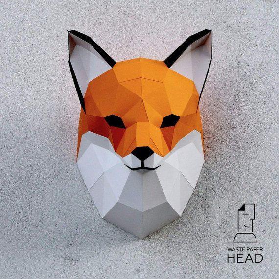 Papercraft fox head - printable digital DIY template