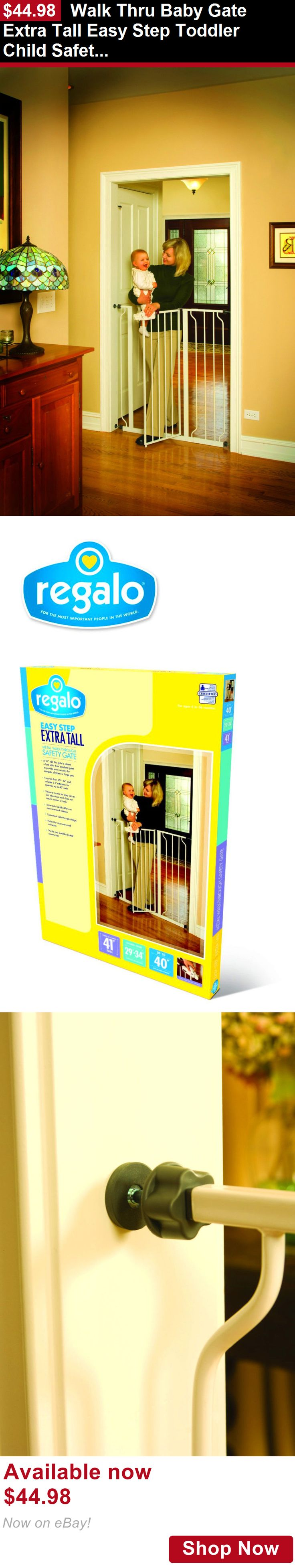 Baby Safety Gates: Walk Thru Baby Gate Extra Tall Easy Step Toddler Child Safety Pressure Mounting BUY IT NOW ONLY: $44.98