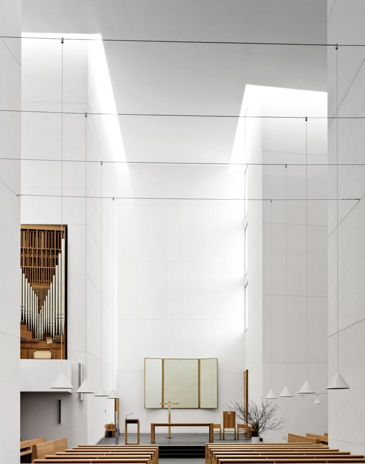 Fabrice Fouilliet's shortlisted interior shot shows the bright white interior of the Jesus Church designed by Rafael Moneo for the Spanish town of San Sebastian.
