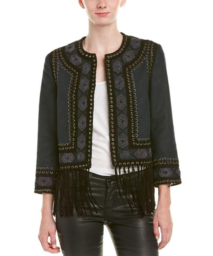 HAUTE HIPPIE Haute Hippie Fringe Leather-Trim Jacket'. #hautehippie #cloth #jackets