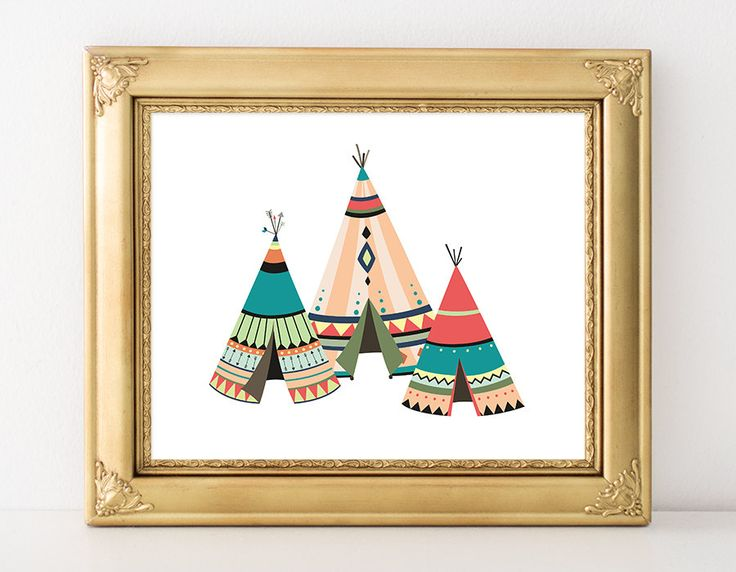 Nursery Tribal Printable Art Print Native American Teepee Print Southwestern Nursery Decor Bright Colors 5x7 8x10 11x14 Instant Download by MossAndTwigPrints on Etsy