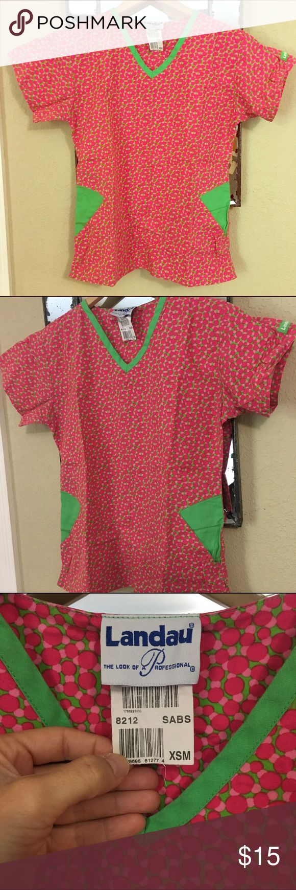 Landau Scrub Top This is the most adorable scrub top! Bright pink and green and has two size pockets. It was my favorite and it's in EUC! First picture is filtered. Landau Tops