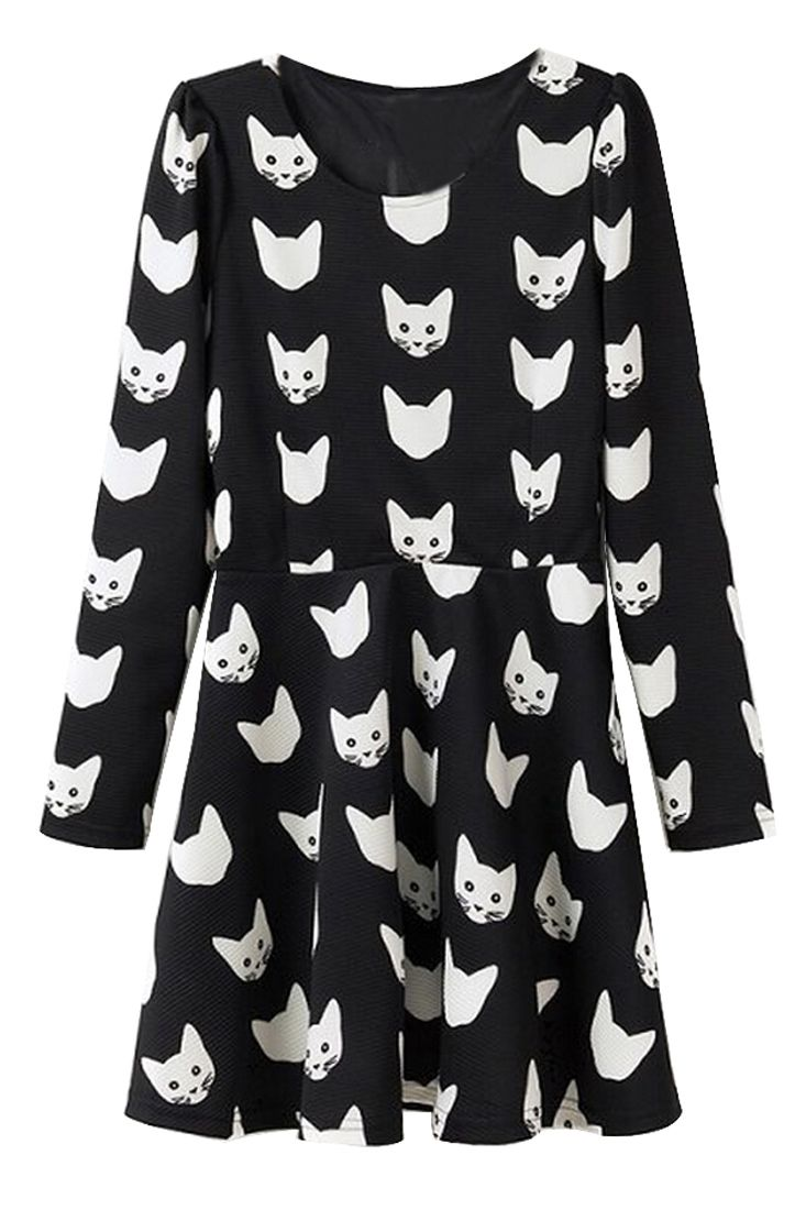Cat Long Sleeve A-line Dress - OASAP.com