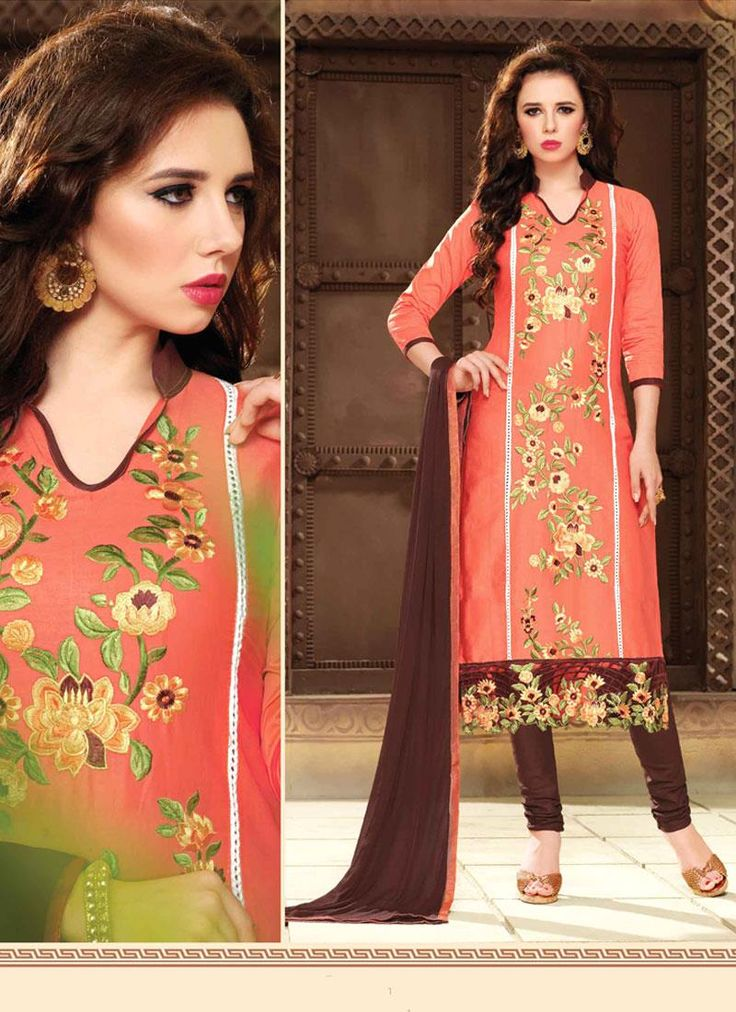 Buy latest salwar kameez designs and designer salwar suits online. Grab this cotton   embroidered work churidar suit.
