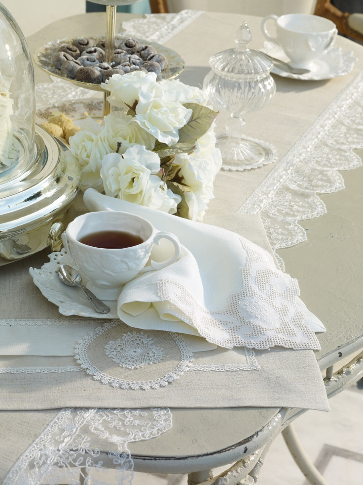 Antoinnette series. Runner, placemats and napkins available. best selling... www.dantell.com