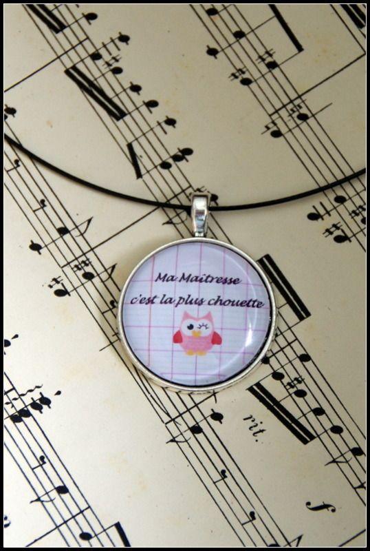 Collier cadeau de fin d 39 ann e ma tresse chouette rose collier par zaza la bricole cadeaux - Idees cadeaux maitresse d ecole ...