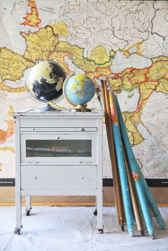 globes and vintage pull down maps