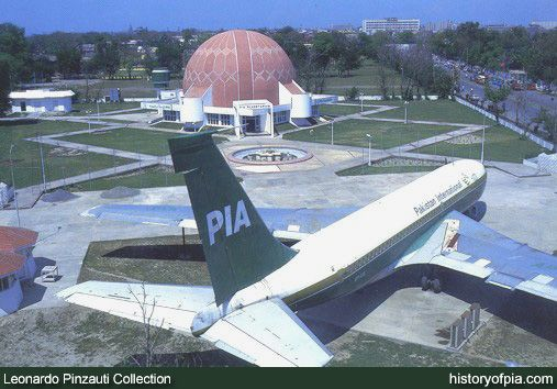 Postcard showing retired Boeing 720B (AP-AXL) of Pakistan International Airlines (PIA) on display at PIA Planetarium in Lahore. AP-AXL was the last Boeing 720B to fly in PIA colours. It was retired in 1986.