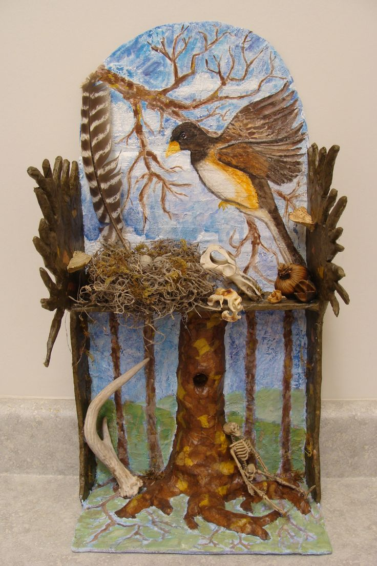 "Jonathon Cherry ""Nature"", Stanhope Elmore High School, teacher Patti Reed, 12"" x24"", Sculpture From Memory Shrines and Altars (Exhibition Connection Retablos) SAC2010.1"