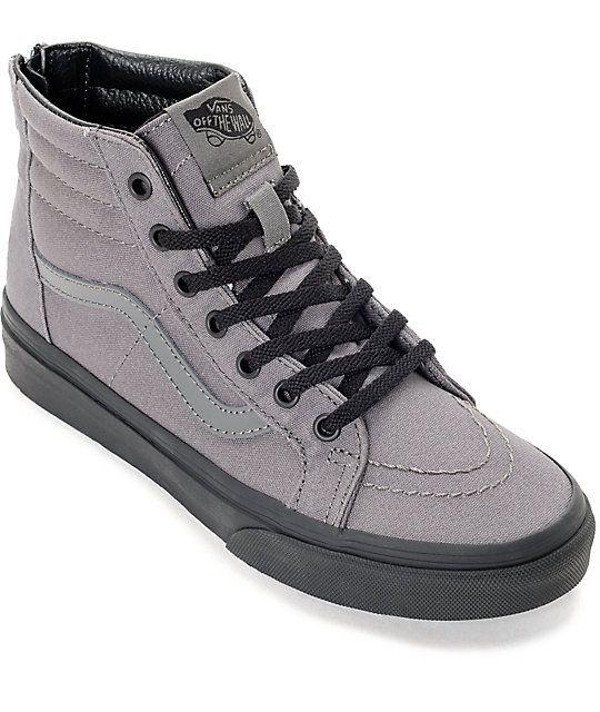 15ff7637b7b21 Vans Sk8 Hi Black   Pewter Boys Skate Shoes