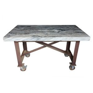 Marble Bar Top With Inscription, Based in Pennsylvania, Groundwork co-founders Brian Foster and Ernie Sesskin repurpose reclaimed wood, industrial salvage, and found objects into one-of-a-kind furniture and accessories. They work with Amish craftspeople to build each piece skillfully crafted furniture. Marble slabs reclaimed from Philadelphia's Independence Mall form the top of this table. Marked by an engraving on one side, its steel base has rolling casters for easy maneuvering.