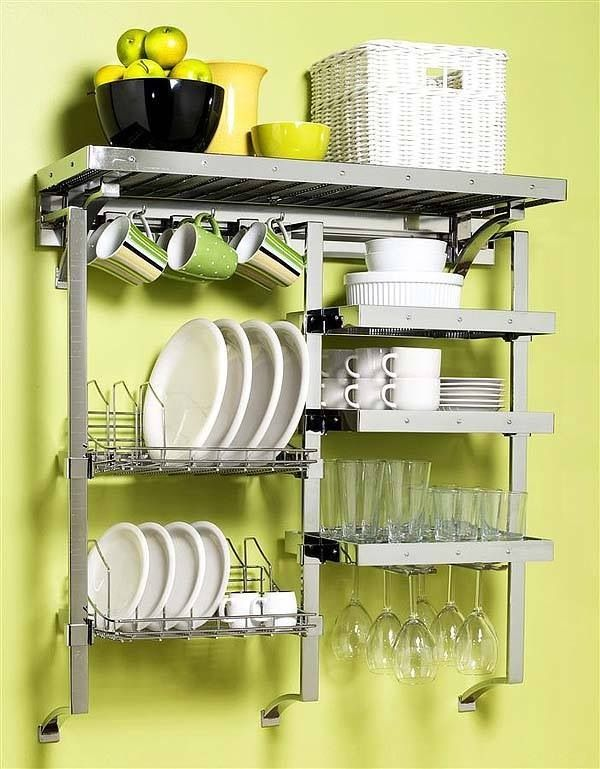 Creative storage solutions for tiny living. Also a drying rack