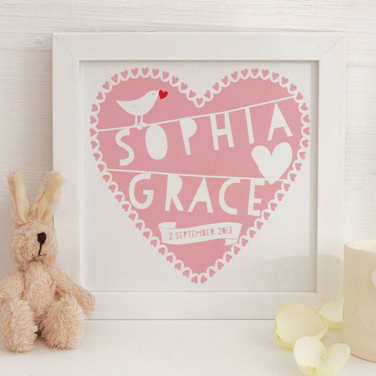 Personalised Heart New Baby Framed Print € 35