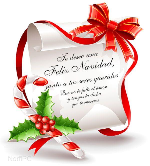 Postal de felicitación para Navidad. Te deseo una Feliz Navidad, junto a tus seres queridos. Que no te falte el amor y tengas la dicha que te mereces