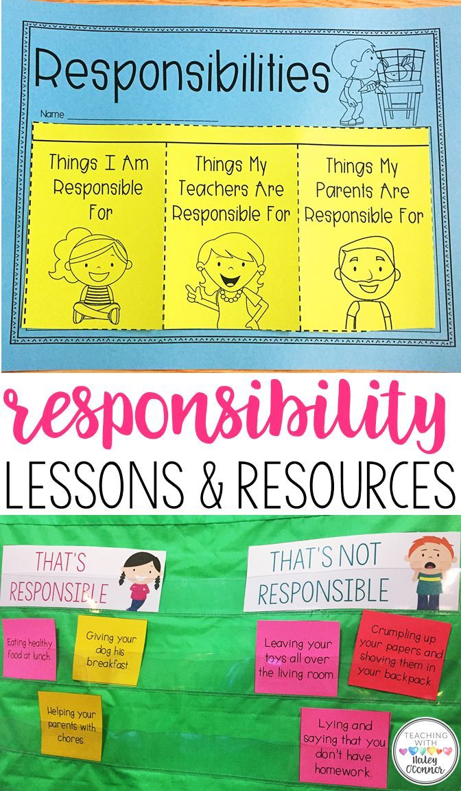 Students will learn all about being responsible. Lessons for teaching what students are responsible for, and how to act responsibly. Your class will discuss what is the teacher's responsibility, and what is the students.