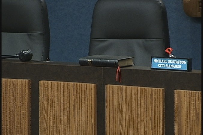 "Group wants Bible removed from council chambers | Bay News 9 (and so it should go. They're using the lame and old ""No one ever had a problem with it before"" excuse to leave it there."