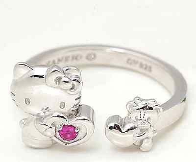 Hello Kitty 40th Anniversary Cute Ruby Ring Silver 925 Sanrio / FS from Japan