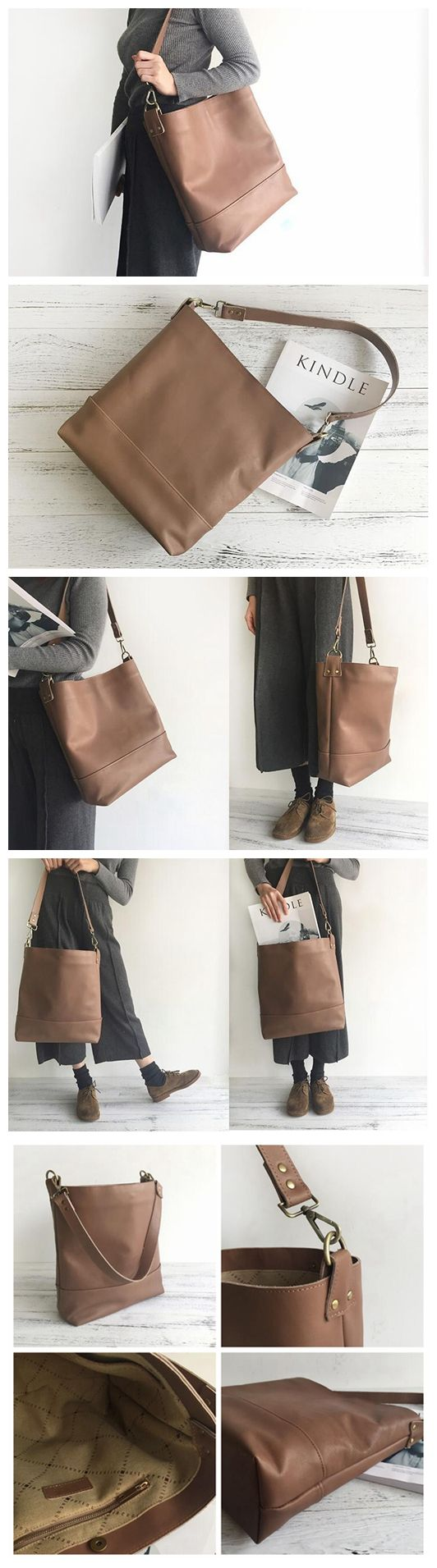 Handmade Top Grain Leather Tote Bag Women's Fashion Handbag Leather Shoulder Bag 16007