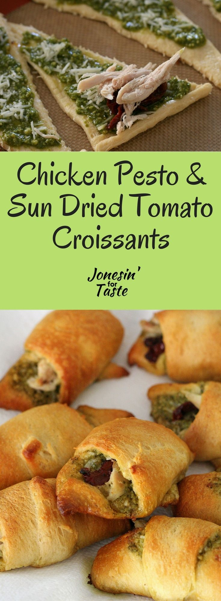 These easy chicken croissants with pesto and sun dried tomato are made with a few simple ingredients for a flavorful savory appetizer. via @jonesinfortaste
