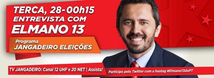 Elmano será entrevistado na TV Jangadeiro, nesta terça (28), às 0h 15. Assista! #Elmano13doPT